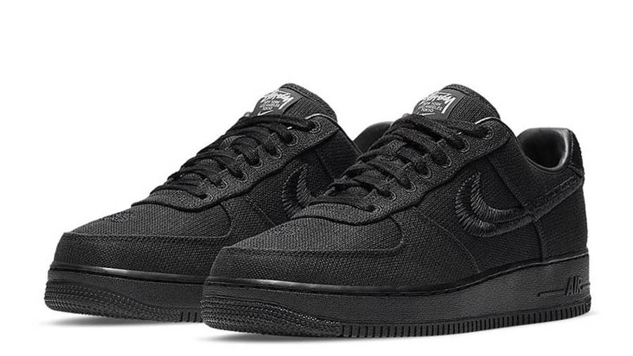 Stussy x Nike Air Force 1 Black Front