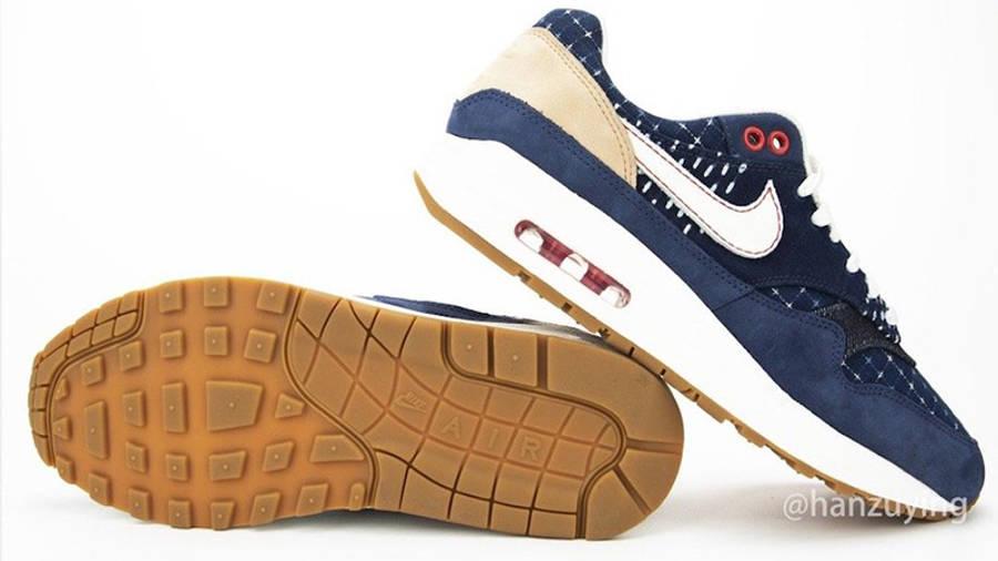 Denham x Nike Air Max 1 Blue CW7603-400 back