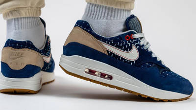 Denham x Nike Air Max 1 Blue On Foot Back