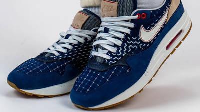 Denham x Nike Air Max 1 Blue On Foot Front
