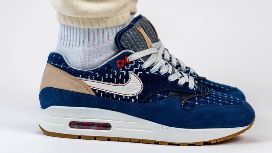 Denham x Nike Air Max 1 Blue On Foot Side