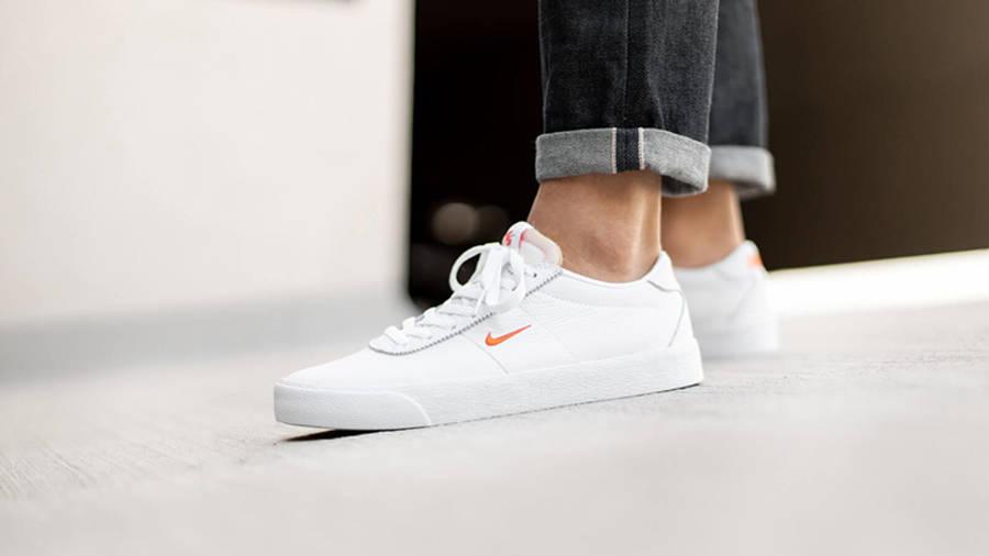 Nike SB Zoom Bruin White Orange AQ7941-101 on foot side