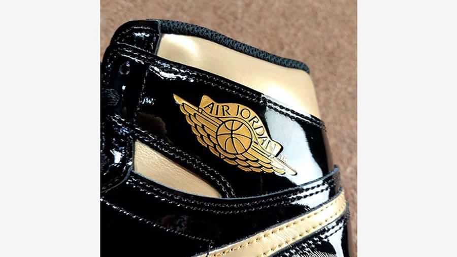 Jordan 1 High OG Patent Black Gold 555088-032 closeup
