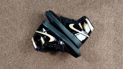 Jordan 1 High OG Patent Black Gold 555088-032 flat