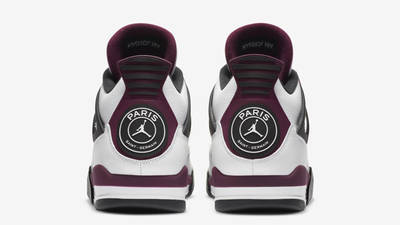 PSG x Jordan 4 White Neutral Grey Bordeaux Back