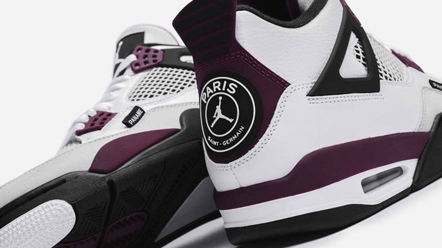 PSG x Jordan 4 White Neutral Grey Bordeaux Back Closeup