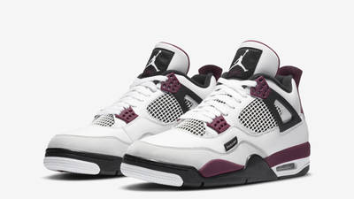 PSG x Jordan 4 White Neutral Grey Bordeaux Front