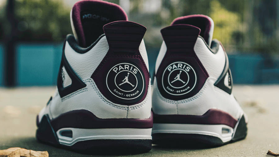 PSG x Jordan 4 White Neutral Grey Bordeaux Lifestyle Back