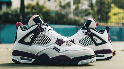 PSG x Jordan 4 White Neutral Grey Bordeaux Lifestyle Side