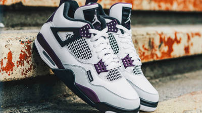 PSG x Jordan 4 White Neutral Grey Bordeaux Lifestyle Slanted On Wall
