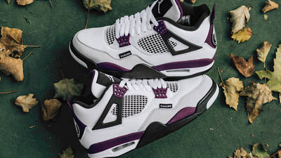 PSG x Jordan 4 White Neutral Grey Bordeaux Lifestyle
