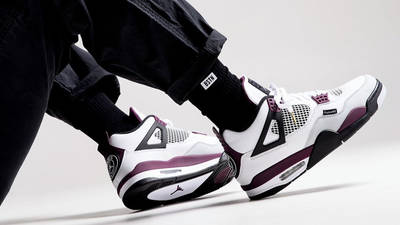 PSG x Jordan 4 White Neutral Grey Bordeaux On Foot