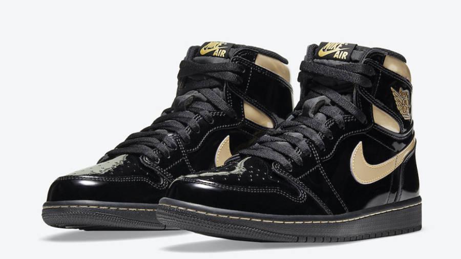 Jordan 1 High OG Patent Black Gold Front