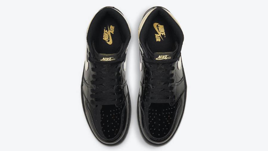 Jordan 1 High OG Patent Black Gold Middle