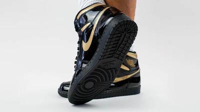 Jordan 1 High OG Patent Black Gold On Foot Back