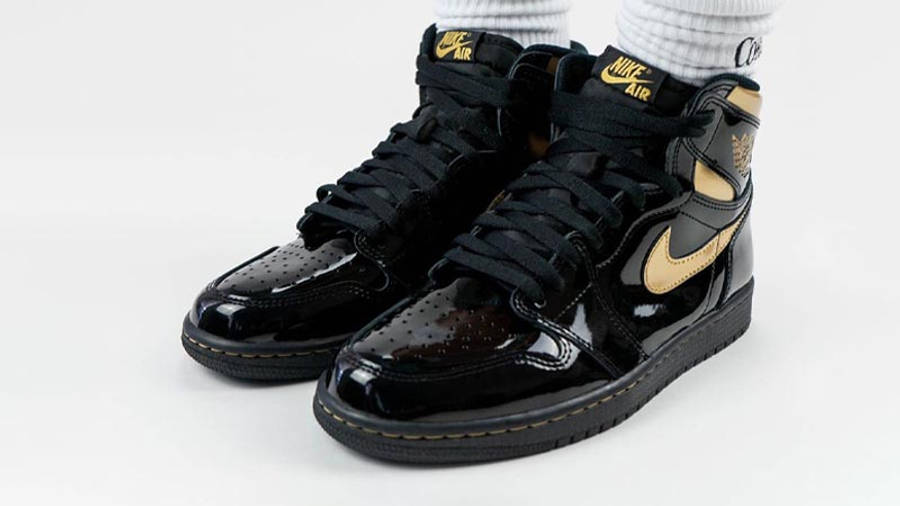 Jordan 1 High OG Patent Black Gold On Foot Front