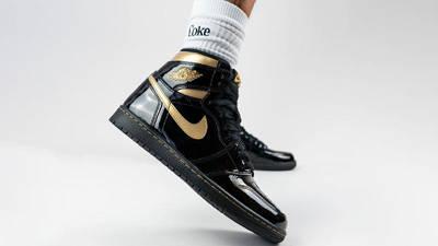 Jordan 1 High OG Patent Black Gold On Foot Side