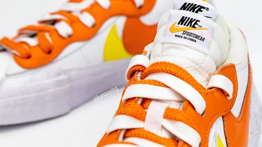 sacai x Nike Blazer Low Magma Orange DD1877-100 Detail