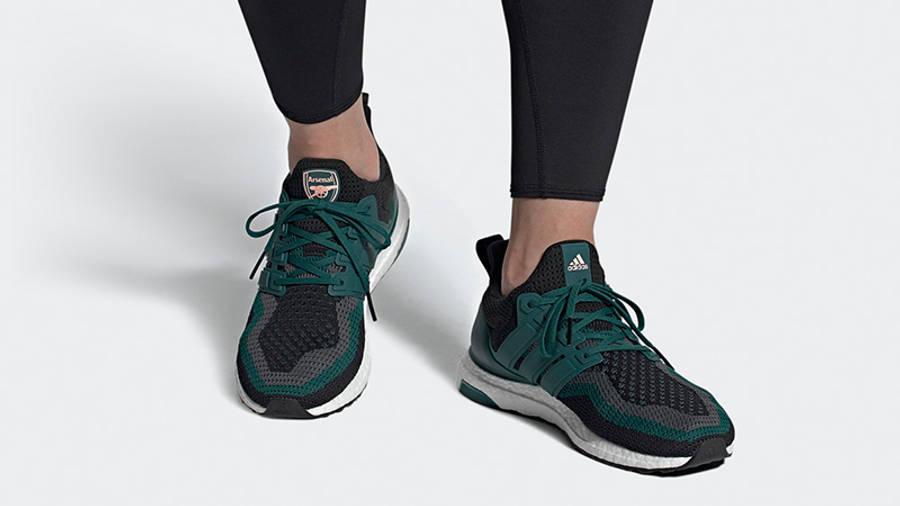 Arsenal x adidas Ultra Boost DNA Green Black FZ3621 on foot