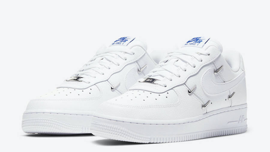 Nike Air Force 1 07 LX Chrome Swooshes White Front
