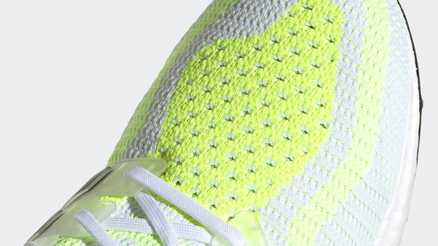 adidas Ultra Boost 2.0 DNA White Solar Yellow Closeup