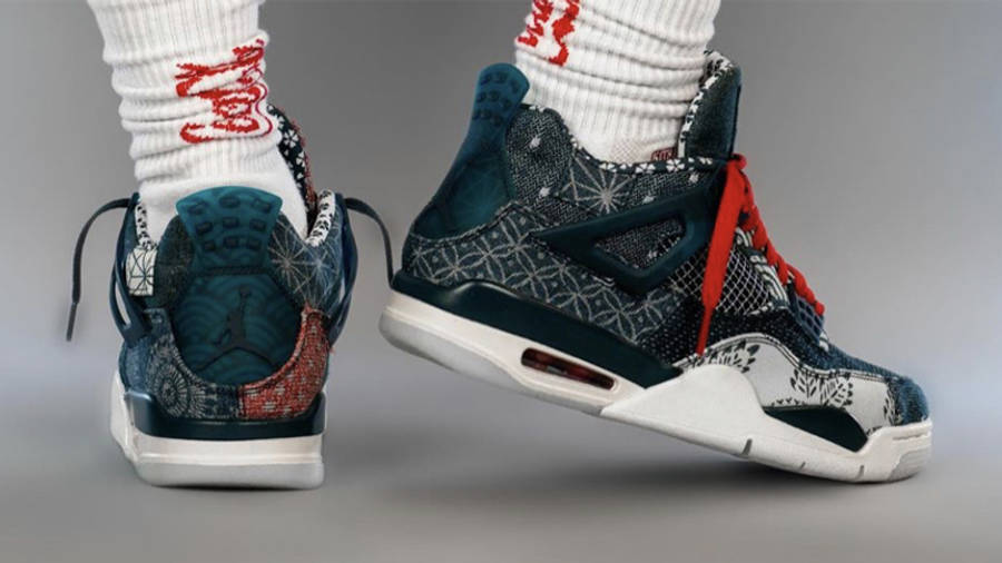 Jordan 4 Sashiko Deep Ocean On Foot Back