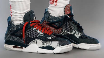 Jordan 4 Sashiko Deep Ocean On Foot