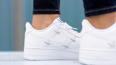 Nike Air Force 1 07 LX Chrome Swooshes White On Foot Closeup