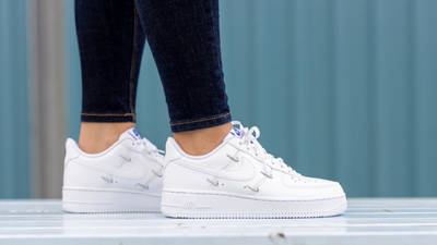 Nike Air Force 1 07 LX Chrome Swooshes White On Foot