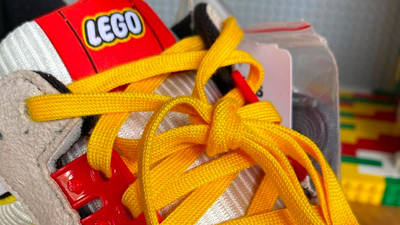 LEGO X adidas ZX 8000 Yellow Blue Closeup