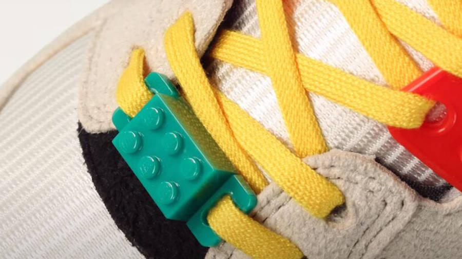 LEGO X adidas ZX 8000 Yellow Blue Closeup Lace