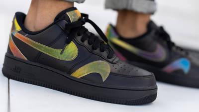 Nike Air Force 1 Misplaced Swoosh Black On Foot Closeup