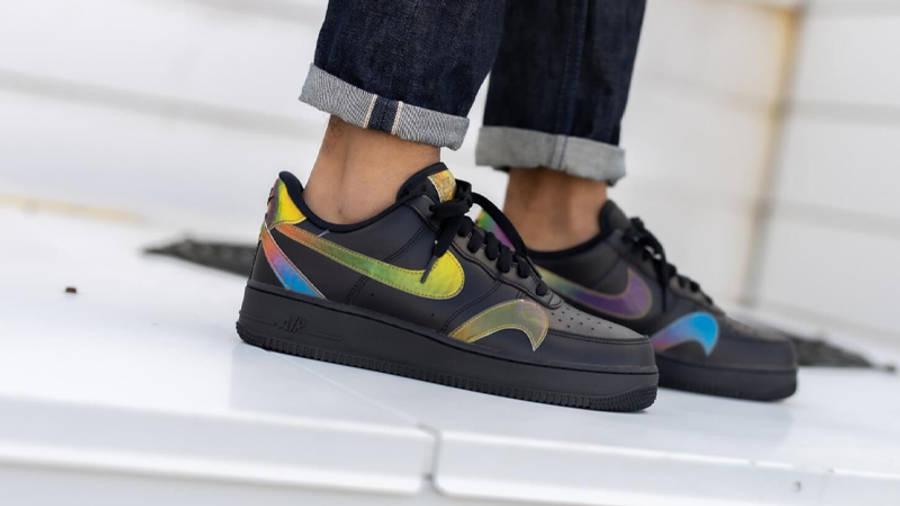 Nike Air Force 1 Misplaced Swoosh Black On Foot