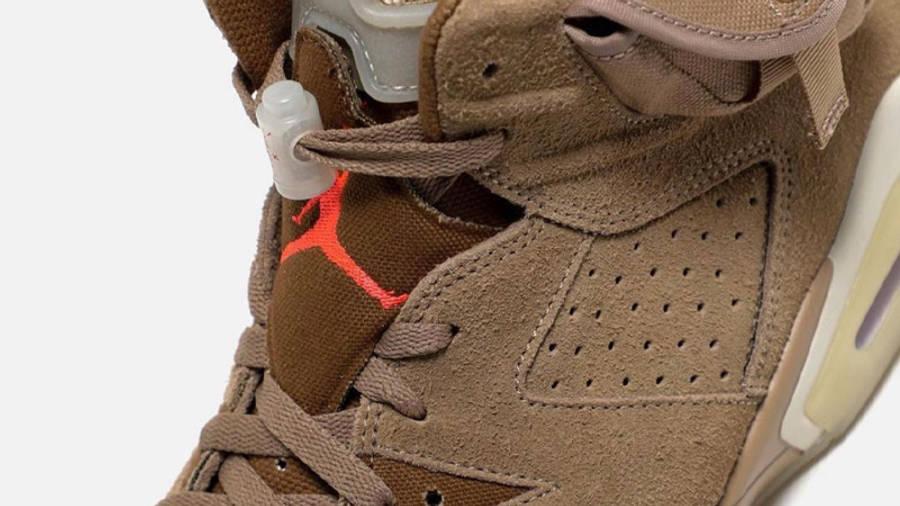 Travis Scott x Jordan 6 British Khaki Closeup