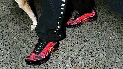 Supreme x Nike TN Air Max Plus Red on foot