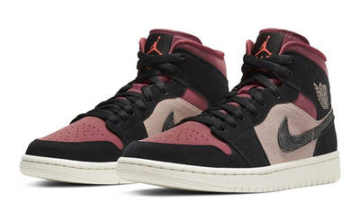 Jordan 1 Mid Burgundy Dusty Pink front