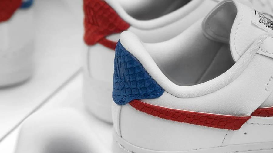 Nike Air Force 1 LXX Snakeskin White Red Closeup