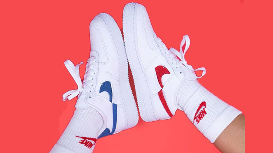 Nike Air Force 1 LXX Snakeskin White Red On Foot