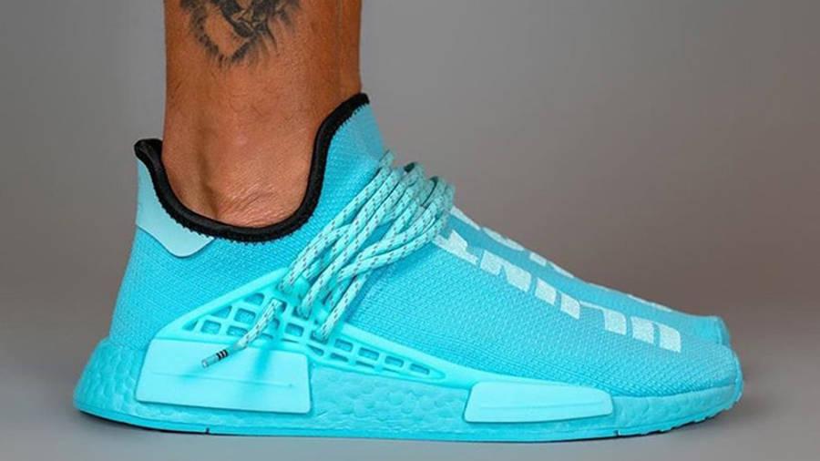 Pharrell Williams x adidas NMD Hu Blue GY0094 on foot side