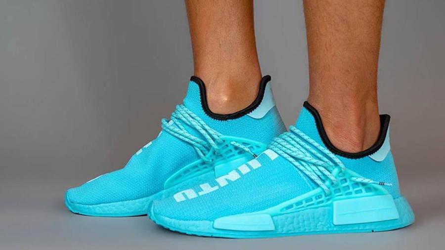 Pharrell Williams x adidas NMD Hu Blue GY0094 on foot
