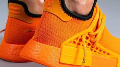 Pharrell x adidas NMD Hu Bright Orange On Foot Back