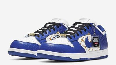 Supreme x Nike SB Dunk Low Stars Hyper Blue Front
