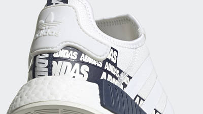 adidas NMD R1 V2 Overbranded Crystal White Navy Closeup