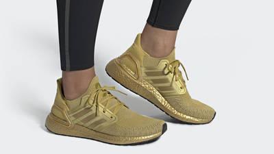 adidas Ultra Boost 20 Gold Metallic On Foot