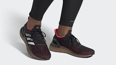adidas Ultra Boost PB Black Signal Pink Coral On Foot