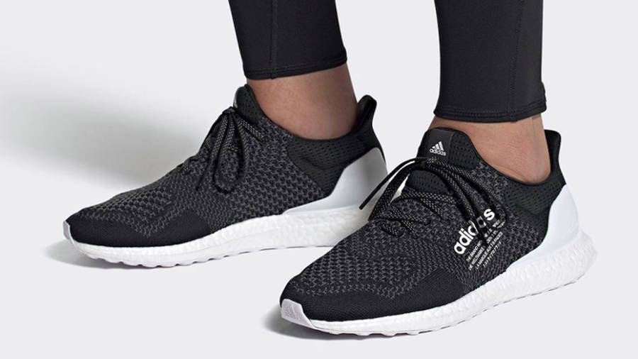 atmos x adidas Ultra Boost DNA Core Black White On Foot