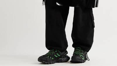 Balenciaga Track Black Neon Green On Foot