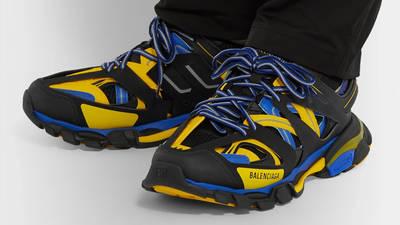 Balenciaga Track Black Yellow Blue On Foot