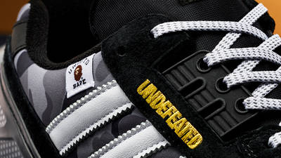 BAPE x Undefeated x adidas ZX 8000 Black Gum Closeup