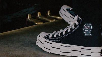 Brain Dead x Converse Chuck 70 High Black Egret On Foot Closeup